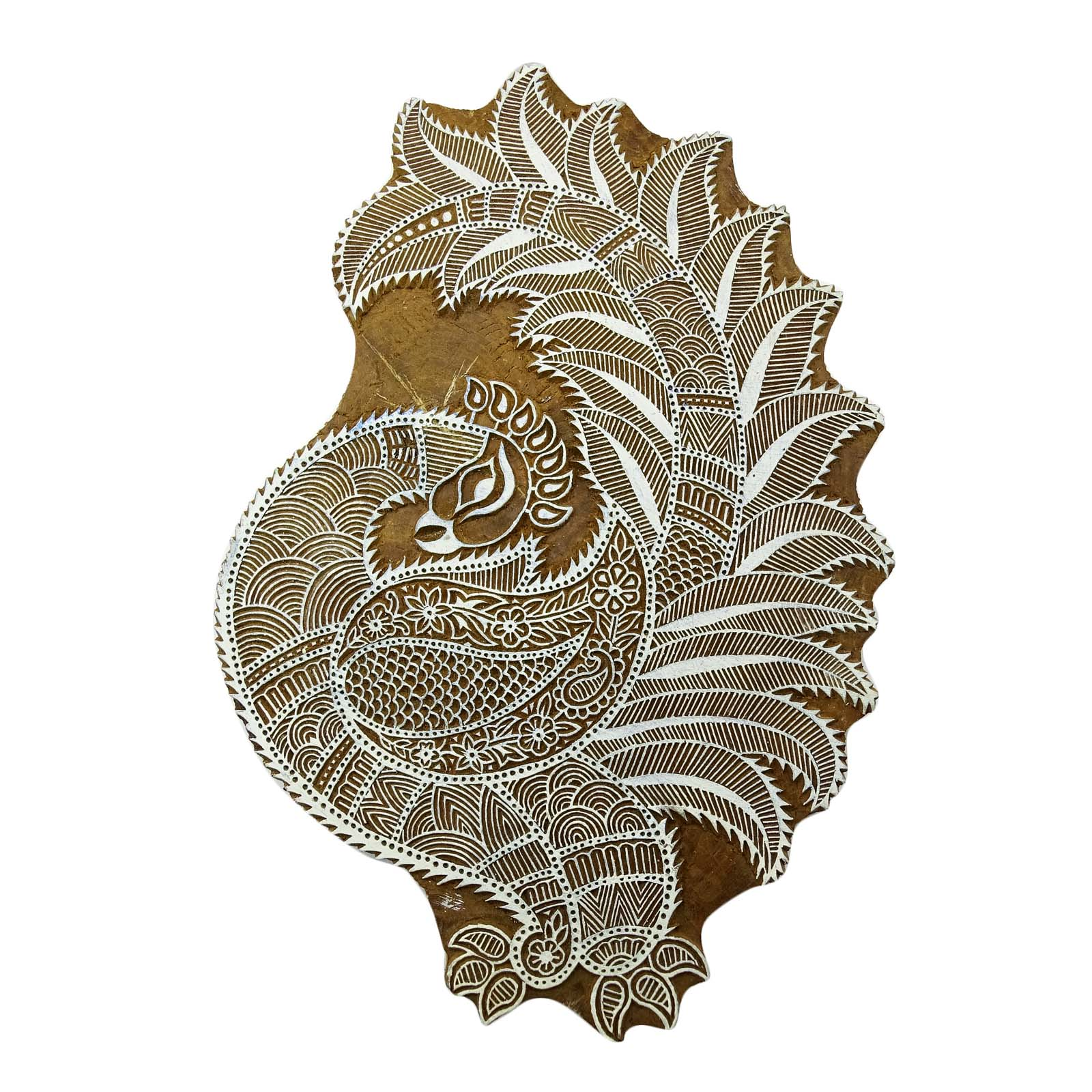 Indian Hand Carved Peacock Design Wooden Printing Block Textile Stamp 7 x 6